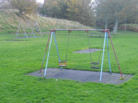 The sad swings at Flagstaff Park have dwindled to two - although there are great plans afoot for a spanking new playground.