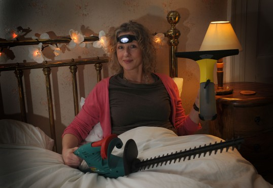Quite a wild idea to take the hedgetrimmer to bed!