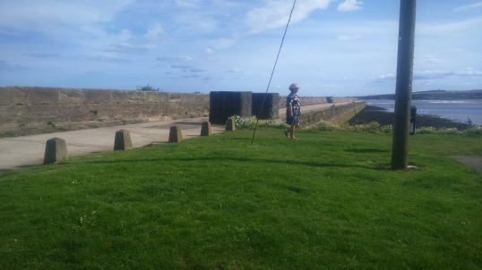 A woman trims the corner at Berwick Pier. But not all such paths are quite so predictable.