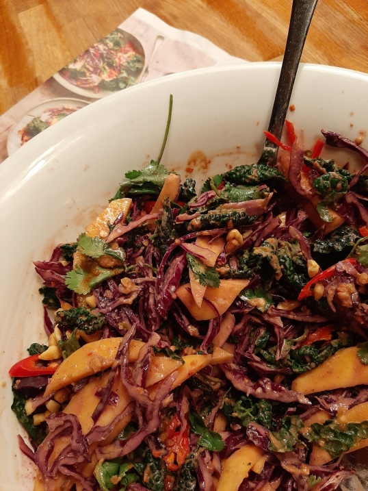 Ravinder Bhogal's pineapple, kale and red cabbage salad from Guardian Feast