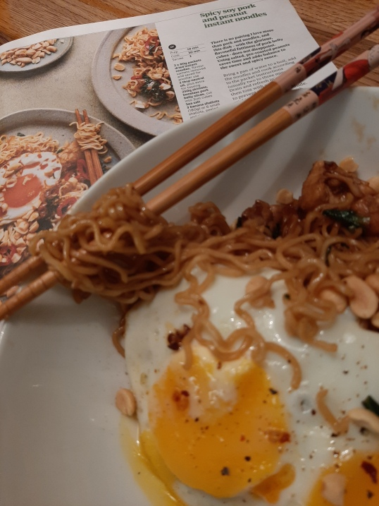 Jackie's chicken version of Lara Lee's spicy pork and peanut instant noodles from Guardian Feast