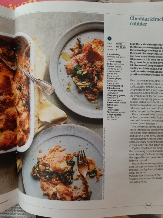 Rukmini Iyer's Cheddar kimchi cobbler in Issue No.161 of Guardian Feast