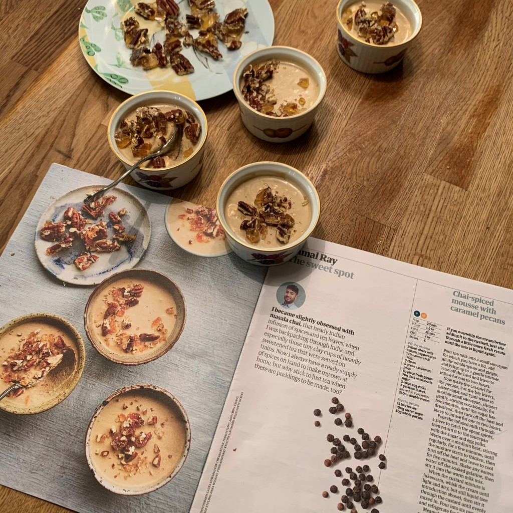 This week in my year cooking from Guardian Feast it's Tamal Ray's chai-spiced mousse with caramel pecans - conjured up by my daughter