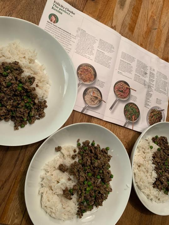 Felicity Cloake's perfect keema created by my eldest daughter