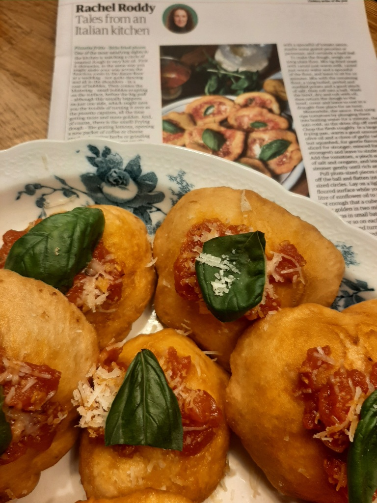 My take on Rachel Roddy's 'pizzette fritte' from Guardian Feast Issue No.189, August 2021.
